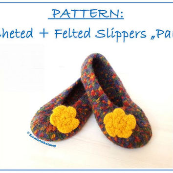 "Pattern ""Crocheted felted slippers ""Paula"", Crochet Felting Pattern, shoes"