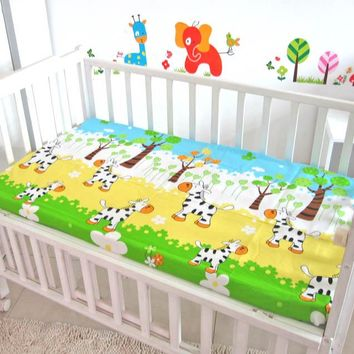 Promition! Baby Fitted Sheet,Baby Bedding Set for Crib Newborn Baby Bed Linens for Girl Boy Cartoon,120*60/120*70cm