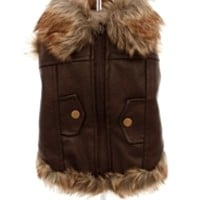 Luxury Brown Leather and Fur Lined Coat