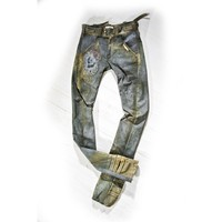 Jeans Handmade khaki green Distressed industrial couture