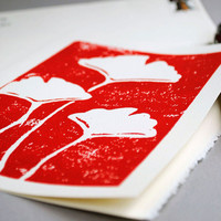 Ginkgo Block Print Notecard Red on Ivory 5 x 7 by CursiveArts