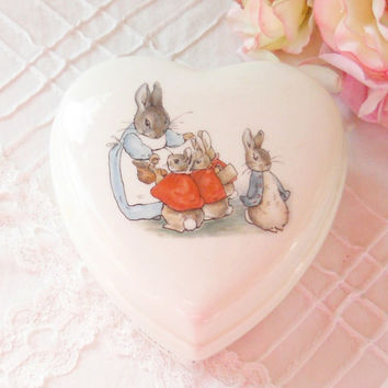 Wedgwood Etruria Beatrix Potter Peter Rabbit Heart Shaped Lidded Box, Trinket Box