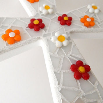 "Mosaic Wall Cross, White, ""3D"" Bright Glass Flowers, Handmade Stained Glass Mosaic Design 12"" x  8"""