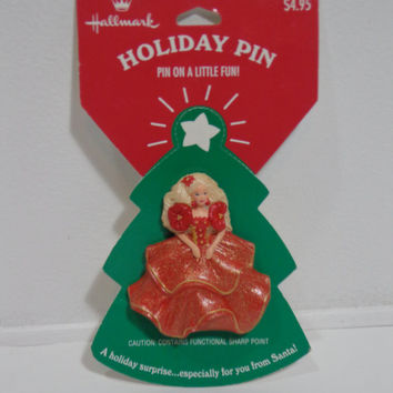 Hallmark Vintage 1995 Barbie with Red Sparkly Dress Collectible Holiday Pin, New On Card Pinback Button Official Mattel Christmas Accessory