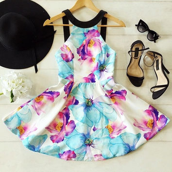 Women Dress Strap Sleeve O-neck Backless Design Tropical Floral Print Summer Fashion Hot Sell 2015 = 1667799876