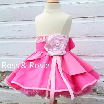Sleeping Beauty inspired Dress Up Costume Apron, Half Apron, Pink Gown Style....Made to Order