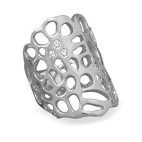 Rhodium Plated Cut Out Design Cubic Zirconia Ring
