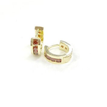 Ruby Color Cz Stones Huggie Gold Plated Earrings