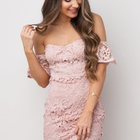 Love Potions + Lace Dress in Dusty Rose