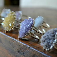 GALAXY  /// Double Banded Amethyst Cluster Silver Electroformed Ring /// Lux Divine