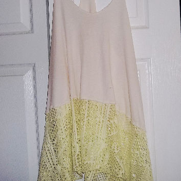 Free People Lazer Cut Long Lace Trim Tunic Tank Racer Back Top S/P Lt Pink Lt Neon Yellow Long!
