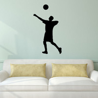 Volleyball Wall Sticker Decal - Male Player Setter Silhouette Decoration - #3