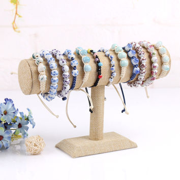 Bracelet display shelf linen bangles organizer hair band holder stand for jewelry rack