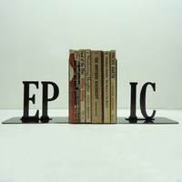 EPIC Text Bookends Free USA Shipping by KnobCreekMetalArts