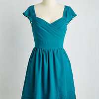 Mid-length Short Sleeves A-line Let's Reminisce Dress in Teal