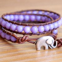 Purple Lavender Jade Boho beaded leather double wrap bracelet, silver elephant, good luck jewelry, gift idea, hipster