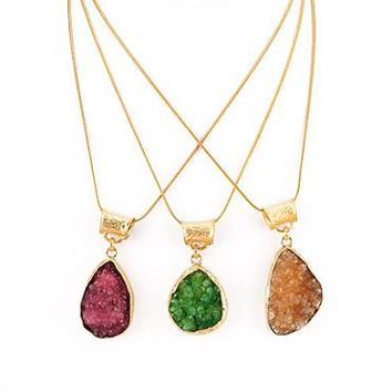 Natural Bright Druzy Stone Pendant Necklace