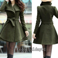 Women's Amy Green Color Princess style cape dress Coat jacket with belt Apring autumn winter coat Spring jacket cute coat S,M,L,XL,XXL