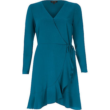 Teal blue ruffle hem long sleeve wrap dress