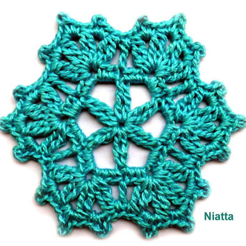 Snowflake Ornament Motif Doily Christmas Coaster Holidays Decoration Hexagon Crochet Niatta