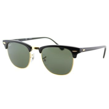 Authentic Ray Ban Clubmaster RB 3016 901/58 Black Gold Polarized Sunglasses 49mm