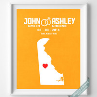 Anniversary, Print, Delaware, Customized, Wedding, Couple, Personalized, Gift, Map, Custom, Wall Art, Home Decor, Marriage, Love [NO 7]