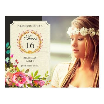 Modern Sweet Sixteen Birthday Flower Invitation Postcard