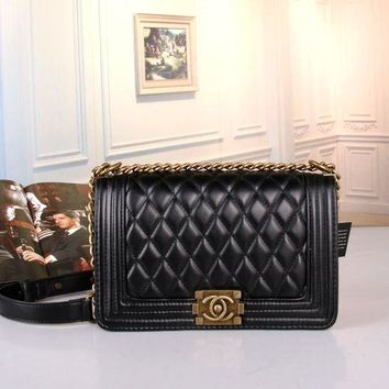LMFON Chanel' Women All-match Fashion Simple Quilted Metal Chain Single Shoulder Messenger Bag