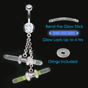 Shocking 14 Gauge Stainless Steel with Fancy DOUBLE Dangling GLOWSTICK Navel Ring