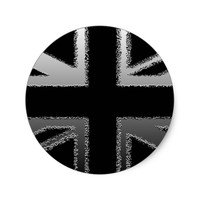 Black and Silver Grey Union Jack Flag Classic Round Sticker