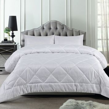 3 Piece 300TC Waffle White Jacquard Comforter Set by Accessorize