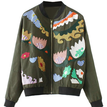 Army Green Embroidery Pattern Long Sleeve Bomber Jacket