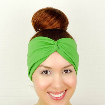 Green Turban Headband Green Twist Headband Green Wide Headband Green Yoga Headband Knotted Fitness Hair Band Womens Tribal Hippie Head Wrap