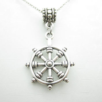 Ship Wheel Necklace, Boat Wheel, Sailing Necklace, Nautical Themed Necklace, Antique Silver Ship Wheel, Cruise Themed Necklace X037