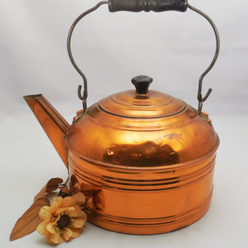 "Revere Copper Tea Kettle 10 1/2"" Wide, Vintage Copper on Tin Revere Kettle, Farmhouse Decor, 1930s Colonial Style Copper Kettle"