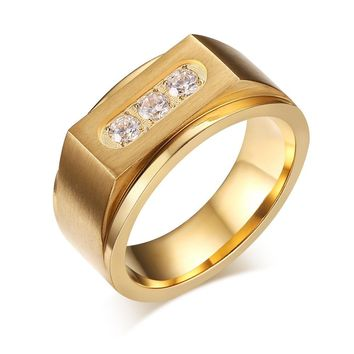 Luxury Three AAA Cubic Zirconia Ring Mens Signet Rings Gold Stainless Steel Wedding Rings For Men Jewelry R-132