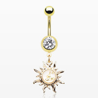 Golden Flake Dainty Blazing Sun Belly Ring