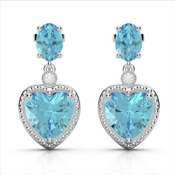 Sky Blue Topaz and Diamond Heart Earrings and Necklace in 10K White Gold, 8CTW of Sparkling Beauty!