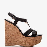 Faux Leather Cork Wedge Sandals | FOREVER21 - 2039768464