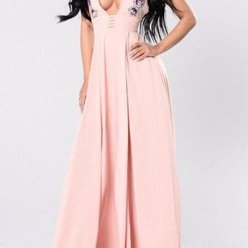 Pink Embroidery Pleated Backless Side Slit Prom Evening Party Maxi Dress