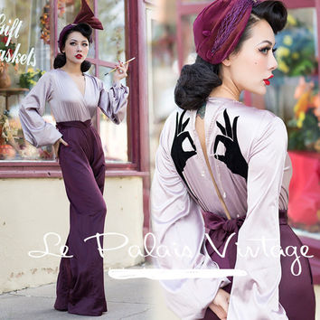 Greta Garbo Jumpsuit:Lilac Lantern Blouse & Pants- Currently Sold Out Check Back!