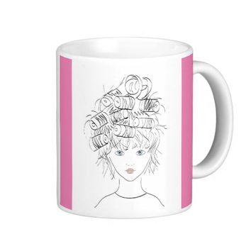 Pretty Girl with Curlers Classic White Coffee Mug