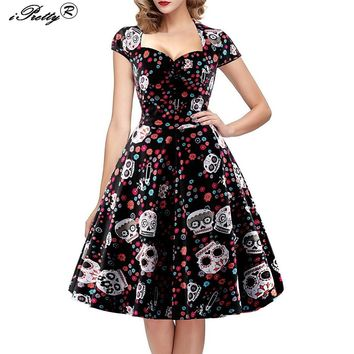 DRESS Elegant Skull Print Vintage Dress Women 50s 60s Square Collar Wrapped Chest A Line Swing Rockabilly Pin Up Dress