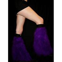 PURPLE FLUFFY FURRY  BOOT COVERS LEGWARMER NEON  PARTY  RAVE DANCE CLUBWEAR