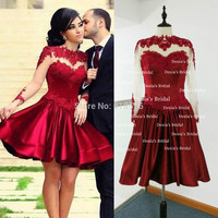 Free Shipping Real Image Vestidos Sheer Long Sleeves Short Dark Red Prom Dresses 2014-in Prom Dresses from Apparel & Accessories on Aliexpress.com | Alibaba Group