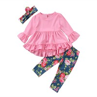 3 Pcs Girls Pink Ruffle Top, Floral Leggings, and Matching Headband Outfit Set - 3T - 7