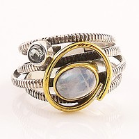 Moonstone & Blue Topaz Two Tone Sterling Silver Ring