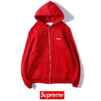 VONEYW7 champion embroidery men and women with the same cardigan zipper hooded sweater red