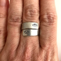 Lotus Flower Stamped Wrap Ring, silver adjustable band wide aluminum birthday yoga gift gifts for her girlfriend wife