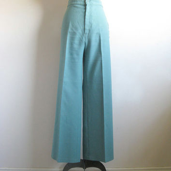 Vintage 1970s Bell Bottom Pants  Levi Strauss Green  Poly Jersey Pants Medium